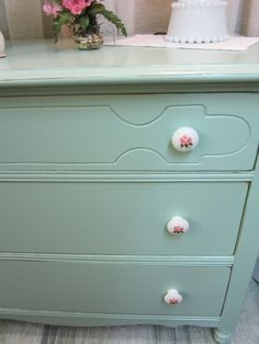 Hand Painted Chest of Drawers Dresser...Robins Egg Green...Shabby Chic Delight