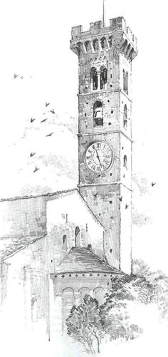 The rough shading and hatching of the tower creates texture, suggesting a brick or stone materiality. jim locke · sketches of buildings Pencil Shading, Pencil Art, Pencil Drawings, Art Drawings, Landscape Drawings, Architecture Drawings, Sketch Painting, Drawing Sketches, Building Sketch