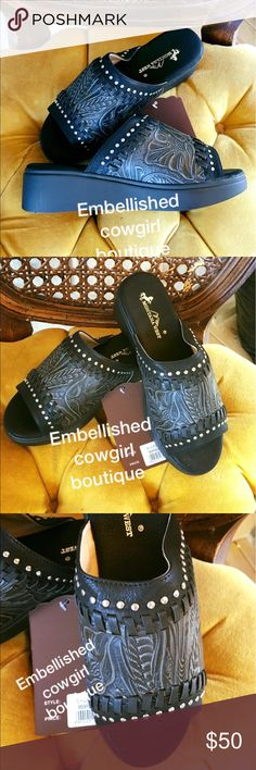 Tooled black peep sandal shoes wedge So cute are these beauties with tooled features design bling cowgirl cute. Fits true med. width. montana west Shoes