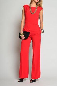 Fiery red jumpsuit.