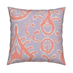 Catalan Throw Pillow featuring Lilac and coral ikat by domesticate | Roostery Home Decor