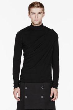 Thamanyah Black Merino Wool Draped Shoulder Turtleneck for men | SSENSE