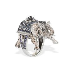 Boucheron Hathi elephant ring with white and brown diamonds and blue, purple and black sapphires set in white gold.
