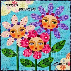 Three Flower Girls 8 X Giclee PRINT Of Painting By LuLu Mypinkturtle