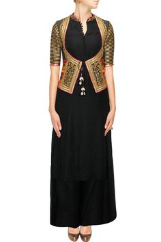 TISHA SAKSENA Black cotton kurta set with embroiderd jacket koti available only at Pernia's Pop-Up Shop.
