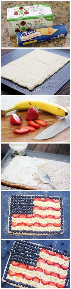 Fruit Flag Pizza for the Fourth of July - I am totally doing this! Fruit Pizza is the best! Just Desserts, Delicious Desserts, Dessert Recipes, I Love Food, Good Food, Yummy Food, Gula, So Little Time, Fresh Fruit
