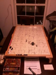 I see this as a removable game top. Tabletop Rpg, Tabletop Games, Rpg Board Games, Dungeon Master Screen, Rpg Map, Box Maker, Slot, Table Cafe, Dragon Rpg