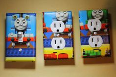 Thomas the Tank Engine Train 3 pc Set Light Switch Cover boys room child decor