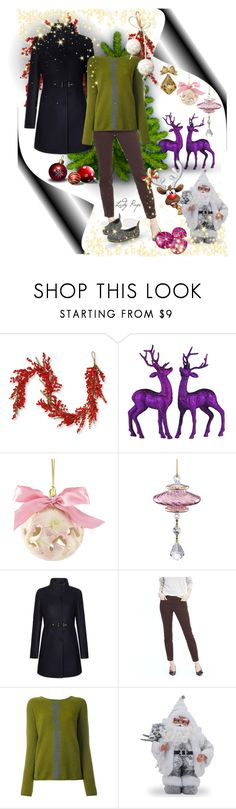 """Christmas Eve Dinner"" by papillon-ze-cat ❤ liked on Polyvore featuring National Tree Company, FAY, Banana Republic and Suzusan"