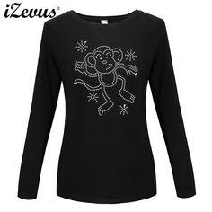 IZEVUS 2018 Long Sleeve Custom Fancy Design Women s Cotton Casual T-shirts  Happy Monkey Print 046355b3f53e