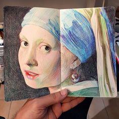 made by Swiss Alberto Russo (📷alberto_sting) Art Sketches, Art Drawings, Pen Sketch, Drawing Cartoon Faces, Ballpoint Pen Art, Artist Sketchbook, Writing Art, Color Pencil Art, Sketchbook Inspiration