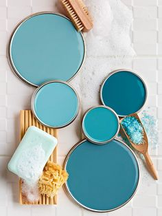 Paint Colors colors for the home . color grouping of chalky blues . Better Homes and Gardens .colors for the home . color grouping of chalky blues . Better Homes and Gardens . Blue Paint Colors, Wall Colours, Accent Colors, Country Paint Colors, Calming Paint Colors, Office Wall Colors, Mint Paint, Relaxing Colors, Coastal Colors