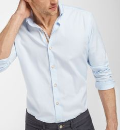 SLIM FIT SKY BLUE SHIRT WITH TRIBAL BAND DETAIL, Casual shirts - MEN - Massimo Dutti