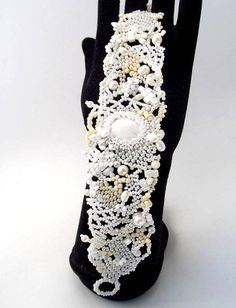 Beadwork bracelet Beaded bracelet Seed bead jewelry White by ibics