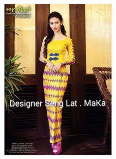 Myanmar Dress Batik Fashion, Fashion Fabric, Myanmar Traditional Dress, Traditional Dresses, African Print Dresses, African Dress, Gold Sequin Dress, Thai Dress, Dress Collection
