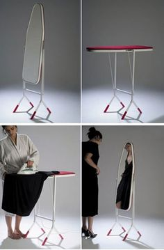 good idea if you limited space. This ironing board turns into a mirror on stands when you change its position. As the picture shows, you can iron your dress, turn the ironing board into a vertical position and see from the mirror how the dress looks on you.