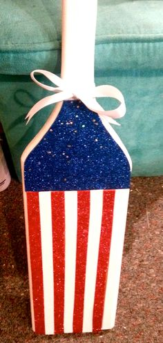 Red White and Blue sparkly Merica themed greek wooden sorority paddle! Sparkly material covers the paddle with a white handle, sides, and back! https://www.etsy.com/shop/KraftsbyKristie?ref=pr_shop_more