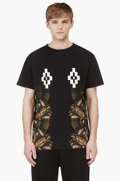 MARCELO BURLON COUNTY OF MILAN Black Short Sleeve Logo & Snake Print T-Shirt