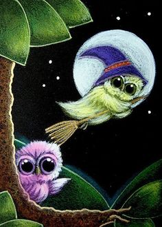 TINY OWL WATCHING A WITCH OWL IN A BROOM