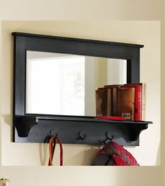 oak Entryway Shelf with mirror and coat hangers | Entryway Wooden Wall Mirror Shelf and Coat Rack Black 35 NEW