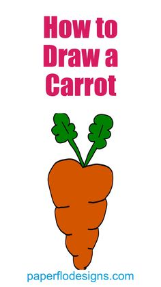 This carrot coloring page is great for every day drawing or as part of a themed art activity. It's large enough to print on a full sheet of paper and is easy to color. I think you'll enjoy this quick coloring sheet because it's fun and simple. Paper Drawing, Drawing Tips, Coloring Sheets, Coloring Pages, Carrot Drawing, Draw A Snowman, Spring Theme, Bunny Crafts, Pencil And Paper