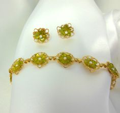 Vintage Bracelet and Earrings in Gold Filigree and by Ladysfancys, $42.00