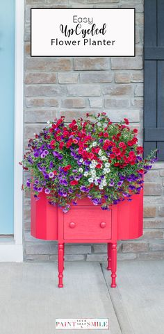 This is the easiest porch flower planter ever! upcycled Martha Washington sewing chest to easy flower planter