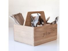 If you're looking for a sturdy carrier to keep your condiments, cutlery and napkins together, the Joie de Vivre Cutlery and Condiment Box will serve you well. Soup Bar, Outdoor Dinnerware, Bar Stand, Kitchen Equipment, Outdoor Settings, Knife Block, Cutlery, Wooden Boxes, Cool Kitchens