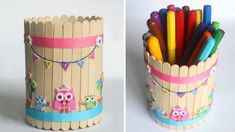 Cute Owl Stationary DIY Pen Stand or Pencil Holder made from cardborad and ice cream sticks or popsicle sticks. This is a cute kawaii owl latest icecream sti. Diy Popsicle Stick Crafts, Popsicle Sticks, Ice Lolly Stick Crafts, Diy Crafts To Sell, Crafts For Kids, Ice Cream Stick Craft, Basket Crafts, Mason Jar Crafts, Decor Crafts