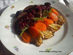 Friptura de caprioara cu sos de fructe de padure, morcovi caramelizati si fenicul Pork, Beef, Chicken, Kale Stir Fry, Meat, Pork Chops, Steak, Cubs
