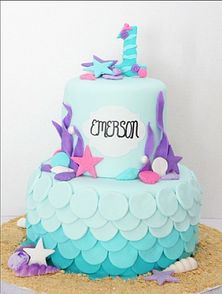 under the sea first birthday cake #confectionerychic mermaid cake pastel
