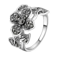 Mytys 18k White Gold Plated Grey Flower and Leaf Marcasite Crystal Ring(6)