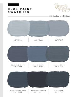 blue grey kitchens I've looked through the swatch books and have compiled the 2019 predicted paint colors post! If you're wondering what paint swatches will be popular in the year ah Interior Paint Colors For Living Room, Paint Colors For Home, Wall Painting Colors, Blue Gray Paint Colors, Paints For Home, Paint Colors For Office, Furniture Paint Colors, Colors For Bedrooms, Boys Room Paint Ideas