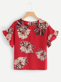 Floral Print Ruffle Top -SheIn(Sheinside) Office Gown Styles, Cute Blouses, African Fashion Dresses, Work Attire, Ruffle Top, Blouse Designs, Chiffon Tops, Plus Size Fashion, Floral Tops