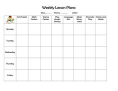 infant blank lesson plan sheets | Weekly Lesson Plan - DOC