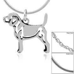 Sterling Silver Beagle PendantPlease choose : Pendant Only, $30.95 ***with Rope Chain, $35.95 in memory of my two wonderful Beagles.... with Snake Chain, $40.95 $35.95