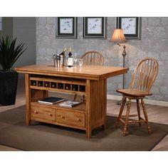 Liberty Weathered Oak Center Island Gathering Table | Overstock.com Shopping…