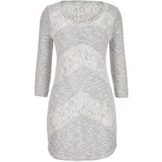 maurices Sweatshirt Dress With Lace ($39) ❤ liked on Polyvore featuring dresses, gray heather, maurices dresses, 3/4 sleeve dress, gray dress, gray plus size dress and grey dress