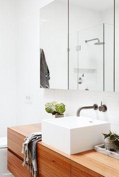 e03b270527 Walnut bathroom vanity with square sink Aqua Bathroom