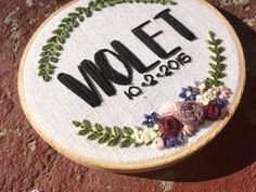 Custom baby name hand embroidery hoop art. Personalized gift.