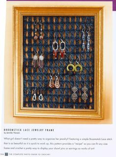 Broomstick lace earring frame! Super cool!