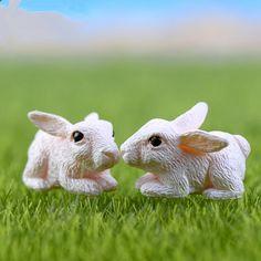 Mini White Rabbit Doll DIY Miniature Dollhouse Fairy Garden Micro Landscape Resin Craft Gift For Kid WD0041