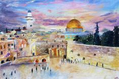 There is nothing like a classic. Oil on Canvas Jewish Art, Religious Art, Arte Judaica, Palestine Art, Biblical Art, Pretty Art, Colorful Pictures, Islamic Art, Beautiful Paintings