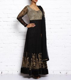 #Black Embroidered #Net #Anarkali #Suit With #Zari #Work by #Afroz at #Indianroots Was $1,600 | Is $483