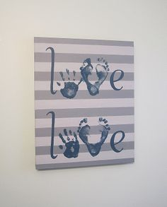 Love Handprint and Footprint Canvas Art with Kit, Any Color, by SnowFlowerArts