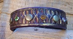 Unique Leather Cuff Bracelet-Purple-Amber and by LeatherVision