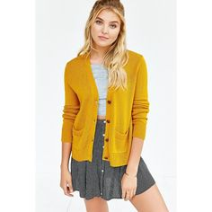 Kimchi Blue Jade Cardigan ($49) ❤ liked on Polyvore featuring tops, cardigans, gold, yellow cardigan, low tops, relaxed fit tops, lightweight cardigan and kimchi blue