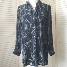 Steel grey burnout velvet button front blouse So romantic! Steel grey burnout velvet blouse. Button front, collar, long sleeves with cuffs. Tunic length. I removed the scratchy tags, and now I can't remember where I bought it, but it was either J. Jill or Soft Surroundings. It's about a size 6 (the dress form is a size 4/6). Gently loved but still in excellent condition. Only one flaw: A cracked button on the right cuff. It was that way when I bought it, but since I always roll my sleeves…