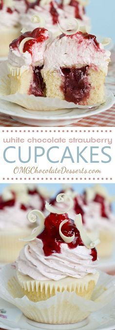White chocolate Strawberry Cupcakes ~ Vanilla cupcakes with strawberry filling, topped with a layer of melted white chocolate and strawberry-white chocolate cream cheese frosting … absolutely delicious! Mini Desserts, Just Desserts, Delicious Desserts, Dessert Recipes, Delicious Chocolate, Healthy Desserts, Summer Desserts, Plated Desserts, Chocolate Strawberry Cupcakes