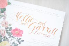 Beautiful vintage botanical illustration wedding suite with rose gold foil